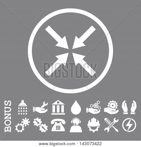 Center Arrows glyph icon. Image style is a flat pictogram symbol inside a circle, white color, gray background. Bonus images are included.