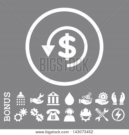 Chargeback glyph icon. Image style is a flat pictogram symbol inside a circle, white color, gray background. Bonus images are included.
