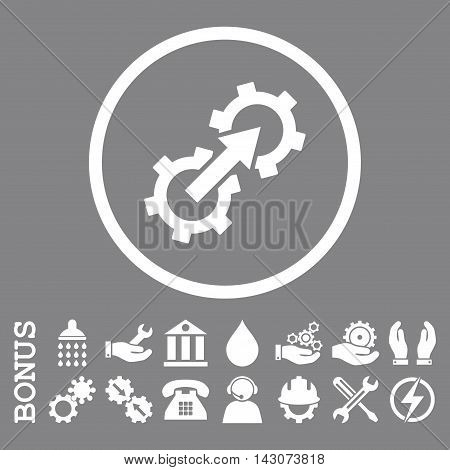 Gear Integration glyph icon. Image style is a flat pictogram symbol inside a circle, white color, gray background. Bonus images are included.