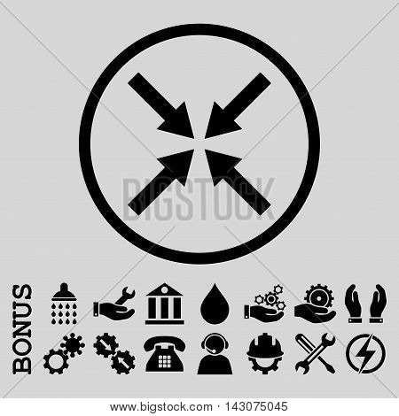 Center Arrows glyph icon. Image style is a flat pictogram symbol inside a circle, black color, light gray background. Bonus images are included.