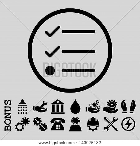 Checklist glyph icon. Image style is a flat pictogram symbol inside a circle, black color, light gray background. Bonus images are included.
