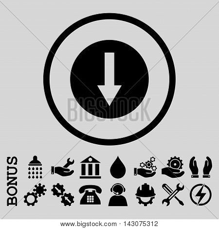 Down Rounded Arrow glyph icon. Image style is a flat pictogram symbol inside a circle, black color, light gray background. Bonus images are included.