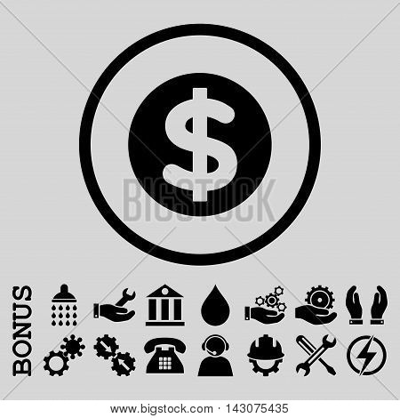 Finance glyph icon. Image style is a flat pictogram symbol inside a circle, black color, light gray background. Bonus images are included.