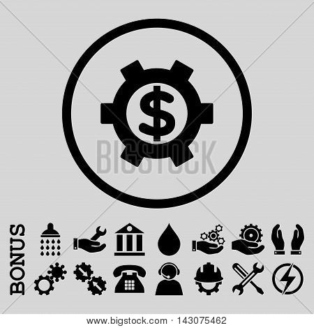 Financial Settings glyph icon. Image style is a flat pictogram symbol inside a circle, black color, light gray background. Bonus images are included.