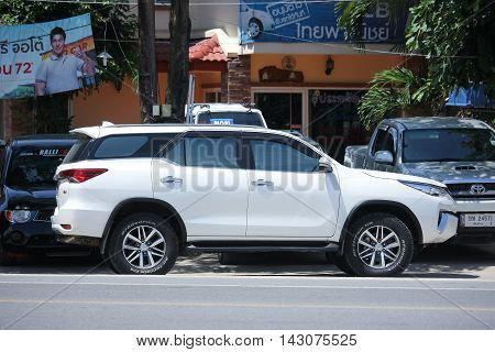 CHIANGMAI THAILAND -JULY 27 2016: Private car Toyota Fortuner. Suv for Urban User. On road no.1001 8 km from Chiangmai Business Area.
