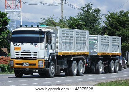 CHIANGMAI THAILAND -JULY 27 2016: Isuzu Trailer dump truck of D stone company. On road no.1001 8 km from Chiangmai Business Area.
