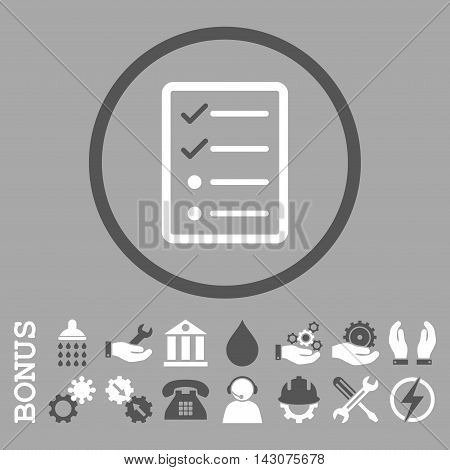 Checklist Page glyph bicolor icon. Image style is a flat pictogram symbol inside a circle, dark gray and white colors, silver background. Bonus images are included.
