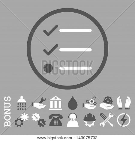 Checklist glyph bicolor icon. Image style is a flat pictogram symbol inside a circle, dark gray and white colors, silver background. Bonus images are included.