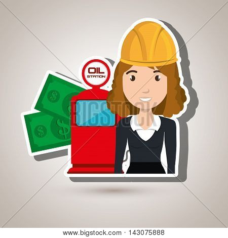 woman dispenser gasoline vector illustration graphic eps 10
