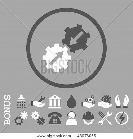 Gear Integration glyph bicolor icon. Image style is a flat pictogram symbol inside a circle, dark gray and white colors, silver background. Bonus images are included.