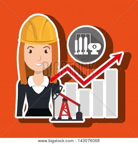 woman oil drill platform vector illustration graphic eps 10