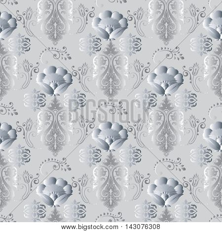 Light floral modern vector seamless pattern background with vintage volumetric flowers and ornaments. Stylish  illustration and 3d decor elements with shadow and highlights. Endless elegant  texture.