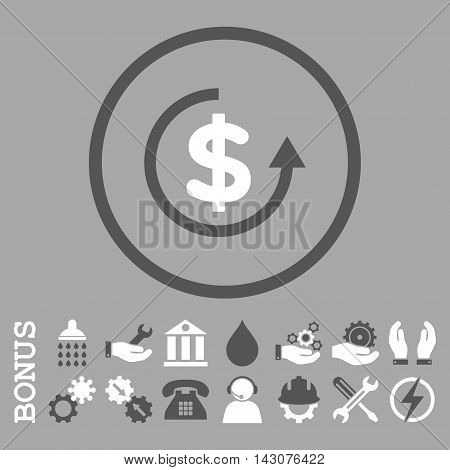 Refund glyph bicolor icon. Image style is a flat pictogram symbol inside a circle, dark gray and white colors, silver background. Bonus images are included.