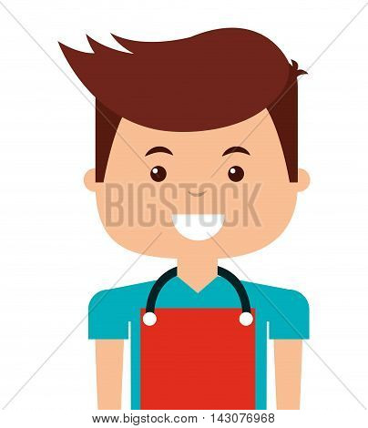 man with apron isolated icon vector illustration design