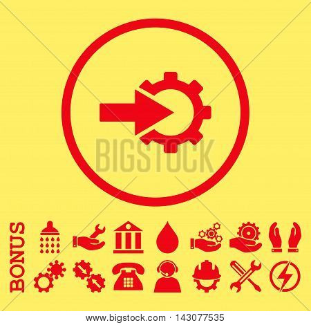 Cog Integration glyph icon. Image style is a flat pictogram symbol inside a circle, red color, yellow background. Bonus images are included.