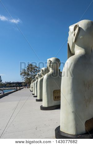 San Diego,California,USA - July 16, 2015 : Bronze sculptures of Our Silences at the Embarcadero