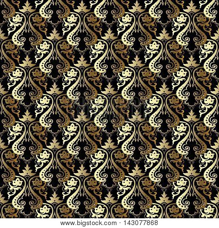 Black damask baroque vector vintage seamless pattern background with elegant royal gold oriental  volumetric ornaments. Luxury element for design in Eastern style.Ornate 3d decor with shadow and highlights.