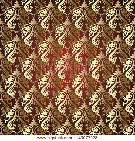 Dark red  damask baroque vector vintage seamless pattern background with elegant decorative oriental  volumetric gold ornaments. Luxury element for design in Eastern style.Ornate 3d decor with shadow and highlights.