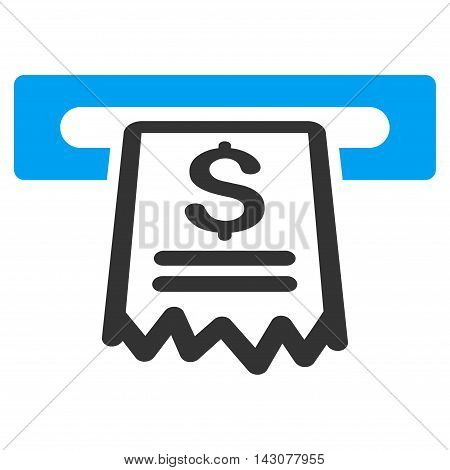 Cashier Receipt icon. Glyph style is bicolor flat iconic symbol with rounded angles, blue and gray colors, white background.