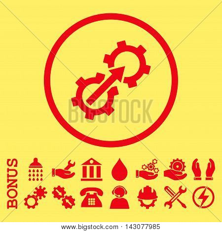 Gear Integration glyph icon. Image style is a flat pictogram symbol inside a circle, red color, yellow background. Bonus images are included.