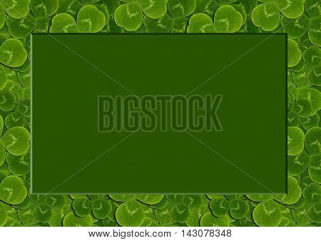 frame leaves clover trefoil shamrock pattern St. Patrick green background Irish