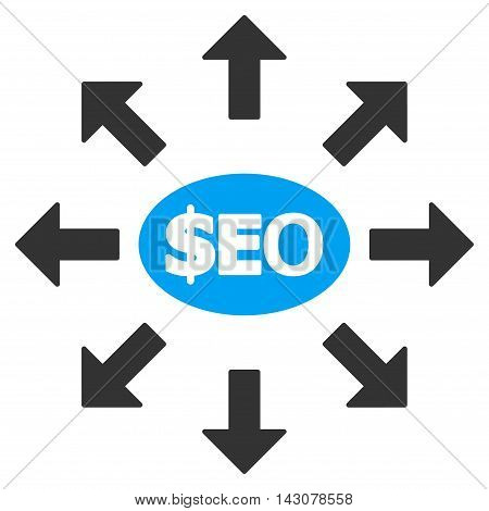 Seo Marketing icon. Glyph style is bicolor flat iconic symbol with rounded angles, blue and gray colors, white background.