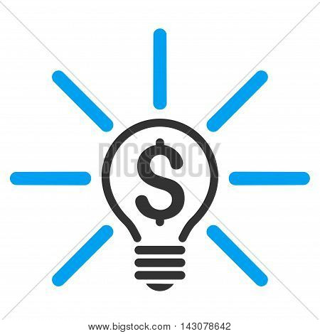 Business Idea Bulb icon. Vector style is bicolor flat iconic symbol with rounded angles, blue and gray colors, white background.