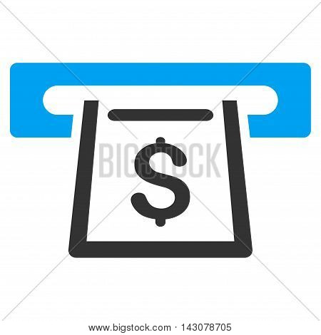 Cashout Slot icon. Vector style is bicolor flat iconic symbol with rounded angles, blue and gray colors, white background.