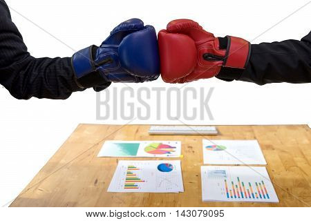 Executive Businessman Red And Blue Hand Glove