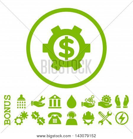 Financial Settings glyph icon. Image style is a flat pictogram symbol inside a circle, eco green color, white background. Bonus images are included.