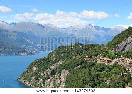 Mountain Panorama At Lake Como And Village Varenna In Lombardy, Italy