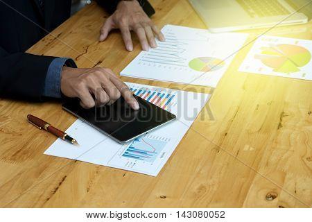 Business Man Work On Maketing Plan