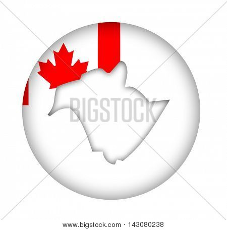 Canada state of New Brunswick Island map flag button isolated on a white background.
