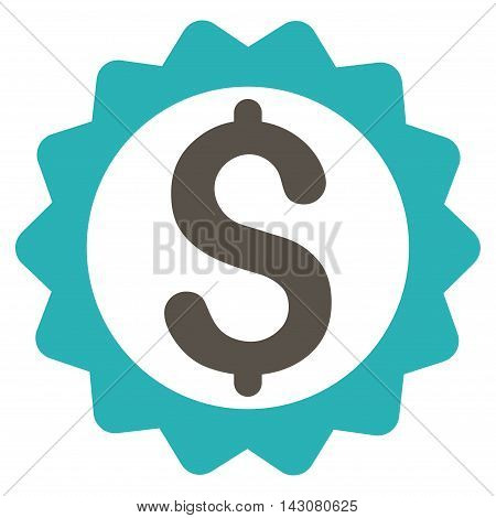 Financial Seal icon. Vector style is bicolor flat iconic symbol with rounded angles, grey and cyan colors, white background.
