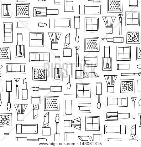 Vector seamless pattern with hand drawn decorative cosmetics on white color. Pattern on the theme of fashion and make up. Background for use in design, packing, textile, fabrics