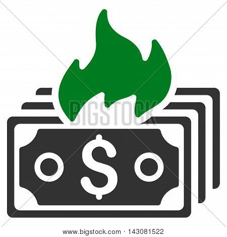 Burn Banknotes icon. Vector style is bicolor flat iconic symbol with rounded angles, green and gray colors, white background.