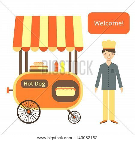 Cute flat style hot dog street cart with shelter wheels hot dogs ketchup mustard.