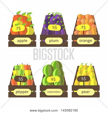 Cute flat style wooden boxes with fruits and vegetables including apples plums oranges peppers watermelons pears. Street market farm boxes with fruits collection. Fruits icons set