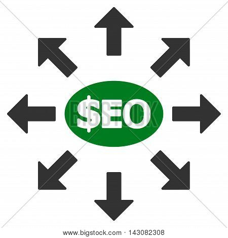 Seo Marketing icon. Vector style is bicolor flat iconic symbol with rounded angles, green and gray colors, white background.