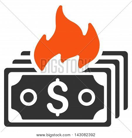 Burn Banknotes icon. Vector style is bicolor flat iconic symbol with rounded angles, orange and gray colors, white background.