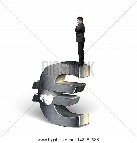 Thinking Businessman Standing On Silver Euro Symbol With Lock