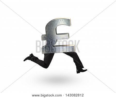 Pound Money Symbol With Human Legs Running