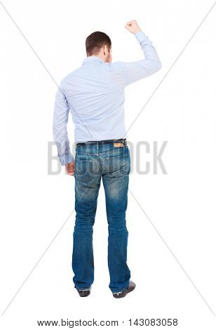 Back view of  man.  Raised his fist up in victory sign.   Rear view people collection.  backside view of person.  Isolated over white background. businessman in white shirt joyfully raised his hand