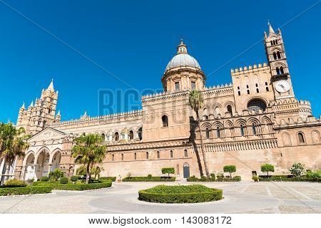The beautiful cathedral of Palermo, Sicily, on a sunny day