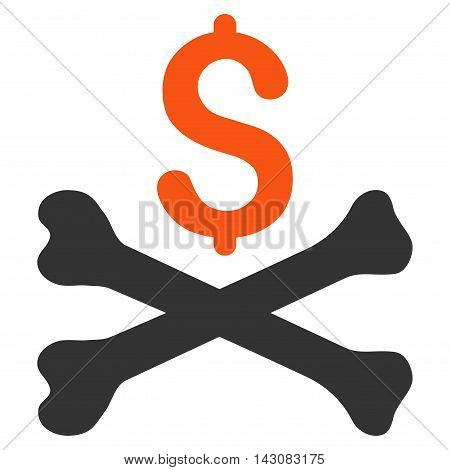 Mortal Debt icon. Vector style is bicolor flat iconic symbol with rounded angles, orange and gray colors, white background.