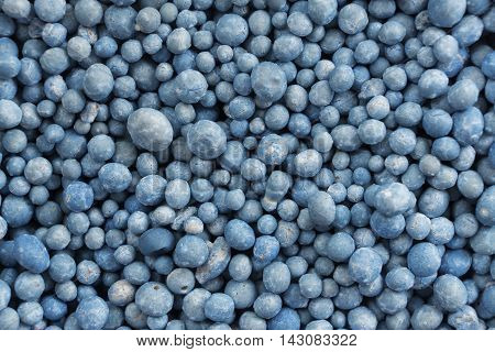 group of blue fertilizer pellets for plant