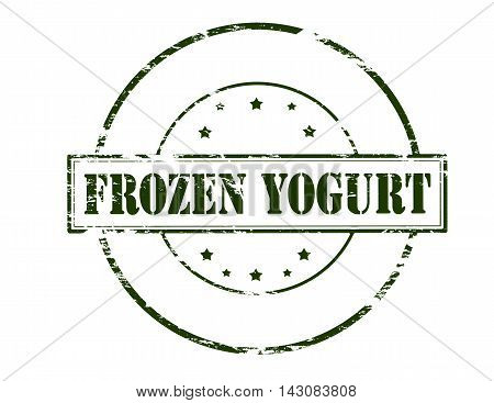 Rubber stamp with text frozen yogurt inside vector illustration