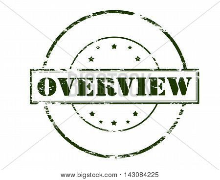 Rubber stamp with word overview inside vector illustration