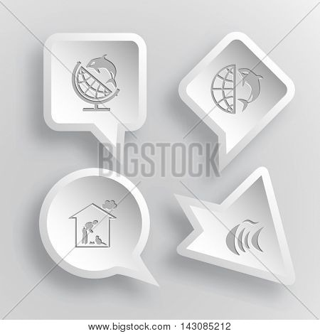 4 images: globe and shamoo, home cat, fish. Animal set. Paper stickers. Vector illustration icons.