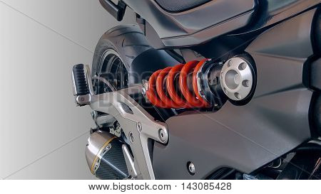 Closeup of springs, shock absorbers motorcycle big bike.
